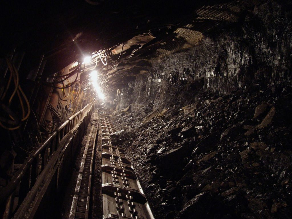 Coal mine shaft with conveyor